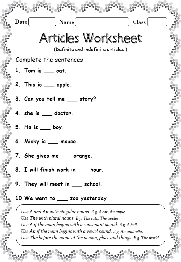 Worksheet On Definite And Indefinite Articles - Your Home Teacher