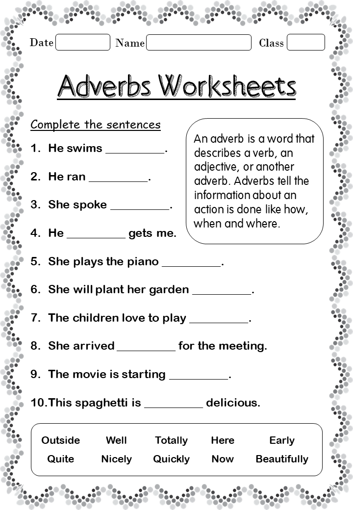 Printable Adverb worksheets for 2nd Grade - Your Home Teacher