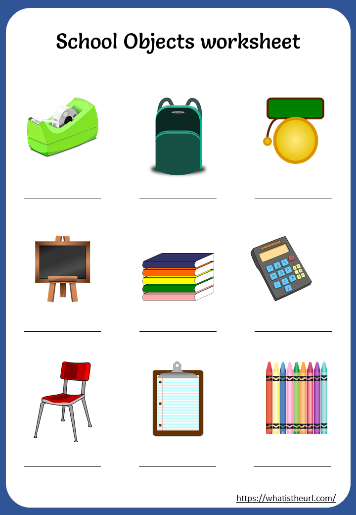 Printable School Objects Worksheets - Your Home Teacher