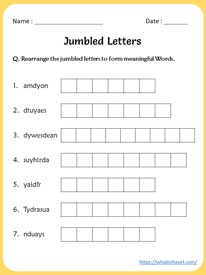 Jumbled Letters On Days Of The Week Worksheet - Your Home Teacher