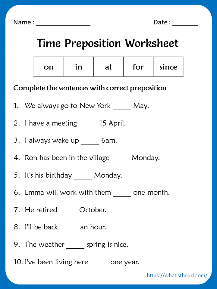 Time Preposition Worksheets For 5th Grade Your Home Teacher