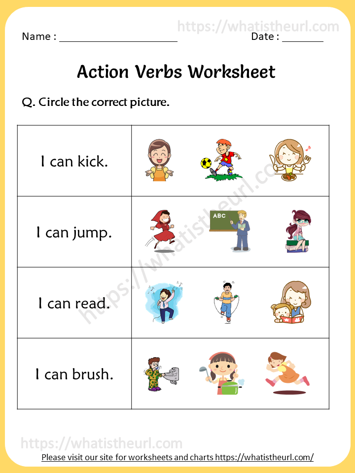 Action Verbs Worksheet For 1st Grade - Your Home Teacher