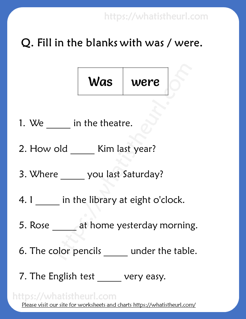 - Fill In The Blanks With Was / Were Worksheets For Grade 3 - Your