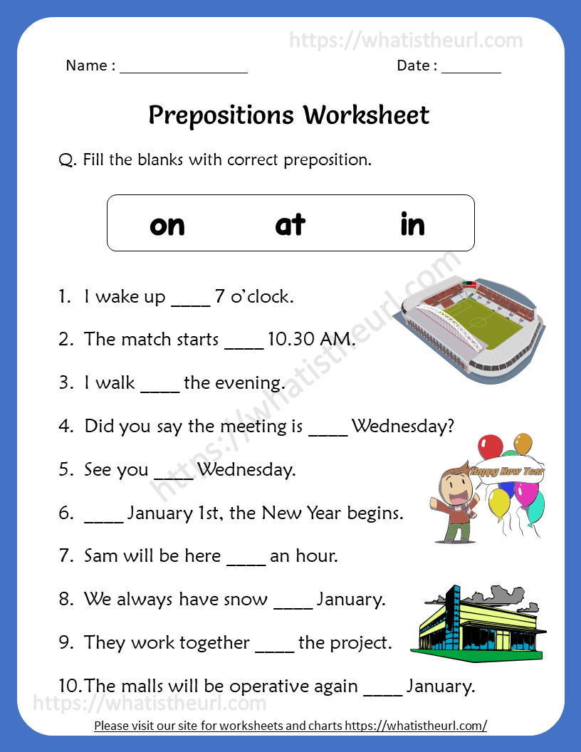 Preposition Worksheets For 4th Grade Your Home Teacher