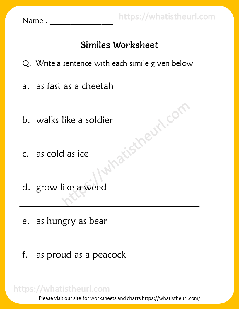 - Similes Worksheets For 6th Grade - Your Home Teacher