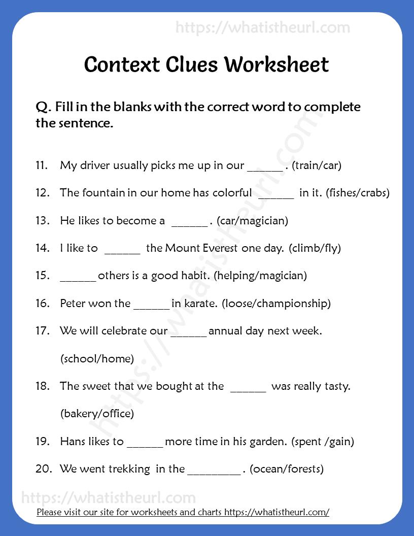 Context Clues Worksheet for Grade 6 3   Your Home Teacher