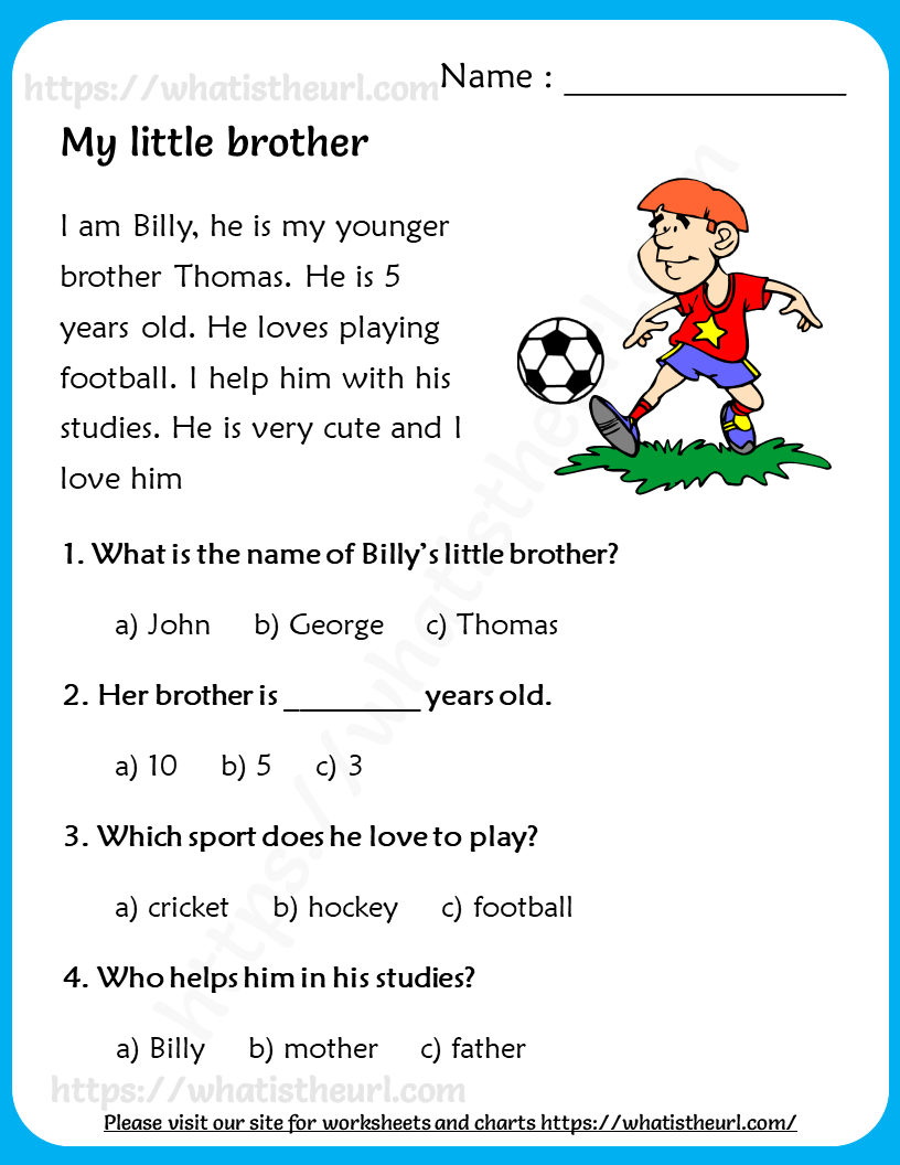 My Little Brother - Reading Comprehension for Grade 2 ...