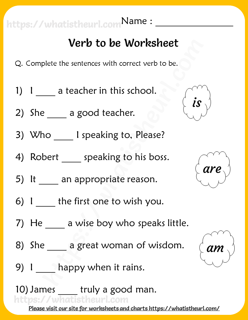 Verb To Be Worksheets For Grade 2 Your Home Teacher