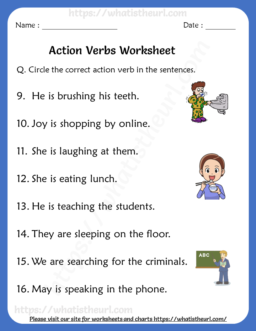 Action Verbs Worksheets For Grade 1 Rel 1 2 Your Home Teacher